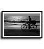 Asian Artisans MDF & Paper 22 x 2.5 x 16 Inch Black & White Ice Cream by The Sea Framed Digital Art Print