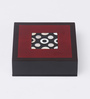 Asian Artisans Vietnamese Maroon Wood with Lacquer Coating Coasters with Box - Set of 6
