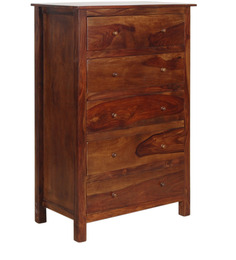 Athena Chest with five Drawer in Provincial Teak with Melamine Finish by Woodsworth