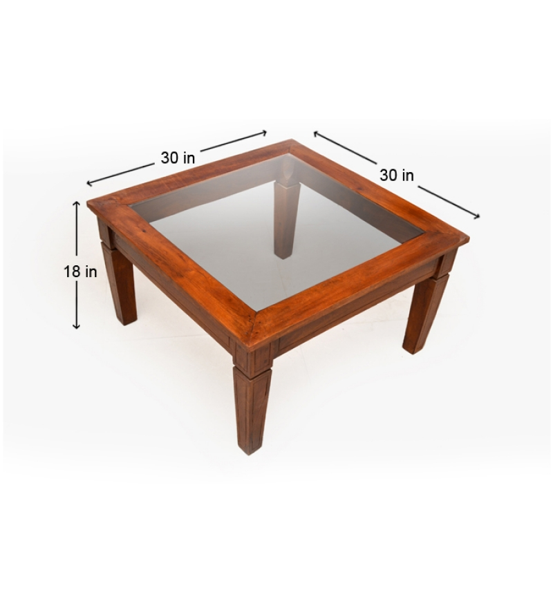 Attractive Glass Top Coffee Table In Mango Wood By