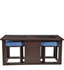 Attractive Coffee Table with Two Blue Cushioned Stools by ARRA