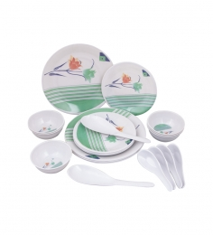 Aura Green 24 Pcs Melamine Dinner Set