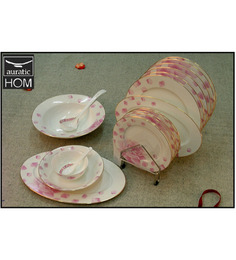 Auratic East Meets West Bone China Pink Dinner Set 210 - 32 Pcs