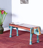 Arala Hand Painted Bench in Blue Finish by Mudramark