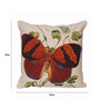 Avira Home Beige Poly Cotton 18 x 18 Inch Home Butterfly Cushion Cover