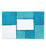 Avira Home Aqua Blue Viscose Blocks Bath Mat