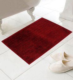 Azaani Red Cotton Bath Mat - Set Of 2