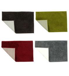 Azaani Multicolor Cotton Bath Mat - Set Of 4