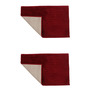 Azaani Red Cotton Bath Mat - Set of 2