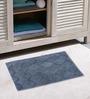 Azaani Grey With 2 Oval Brown Teal 100% Cotton Bath Mat - Set of 3