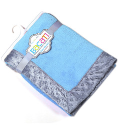 Bacati Solid Sky Blue With Grey Border Baby Blanket