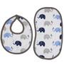 Bacati Elephant Muslin Burpies & Bibs in Blue & Grey (Set of 4)