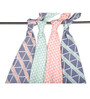 Bacati Emma Aztec Triangles Muslin Swaddling Blankets in Coral Mint & Navy (Set of 4)