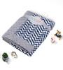 Bacati Navy Blue ZigZag with Grey Border Baby Blanket