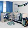Bacati Navy Green ZigZag Mix & Match 10 CS Crib Set