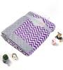 Bacati Purple ZigZag with Grey Border Baby Blanket