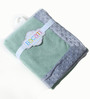 Bacati Solid Mint with Grey Border Baby Blanket
