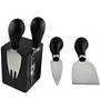 Bar World Black Cheese Knife Set with Magnetic Stand