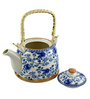 Bar World Porcelain 800 ML Teapot with Cane Handle (Model: YM8044TP-018)