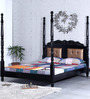 Bayley Queen Size Poster Bed in Espresso Walnut Finish by Amberville
