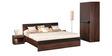 Belda Z Queen Bed in High Gloss Zebrano & Acacia Dark Matt Finish by Debono