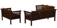 Belmond Teak Wood (3+2+2) Sofa Set in Mahogany Finish by CasaTeak