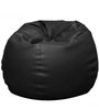 Bean Bag with Beans in Black Leatherette by TJAR