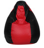 Bean Bag with Beans in Red & Black Leatherette by TJAR