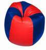 Bean Bag with Beans in Red & Blue Leatherette by TJAR