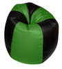 Bean Bag Without Beans in Black &  Green Leatherette by TJAR
