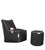 Bean Chair Set of 2, Denim Bean Chair XL & Round Puffy Cover without Beans in Black Colour by Can