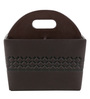 Belmun Brown Textured Cheques Embossed Leatherette Cutlery Holder