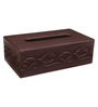 Belmun Smooth 3 Petal Floral Embossed Rectangle Brown Leatherette Tissue Box