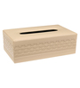 Belmun Smooth Cheques Embossed Rectangle Beige Leatherette Tissue Box