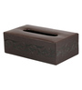 Belmun Textured 3 Petal Floral Embossed Rectangle Brown Leatherette Tissue Box