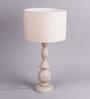 Bespoke Antique Beige Wooden Ash Table Lamp