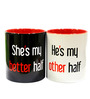 Better Half Couple Mugs White, Black & Red