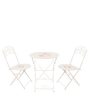 Bistro Folding Printed Chair & Table Set in White by Deneb