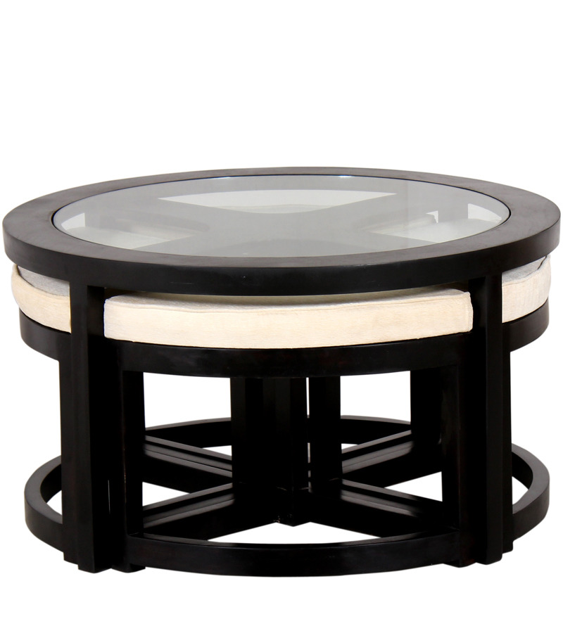 Black Forest Round Coffee Table With 4 Stools By
