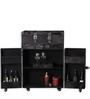 Black Bovine Leather Top Open Bar on Wheels by ThreeSixtyDegree