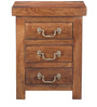 Prescott Three Drawer Bed Side Table in Provincial Teak Finish by Woodsworth