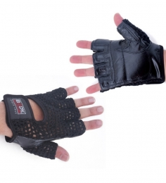 Body Sculpture Mesh Cotton/Leather Fitness Gloves(Medium) BW83