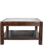 Lynden Glass Top Coffee Table in Provincial Teak Finish by Woodsworth