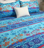 Bombay Dyeing Aqua Poly Cotton Queen Size Bedsheet - Set of 3