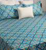 Bombay Dyeing Blue Poly Cotton Queen Size Bedsheet - Set of 3