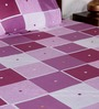 Bombay Dyeing Purple Poly Cotton Striped & Checkered Double Bed Sheet (with Pillow Cover) - Set of 3