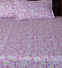 Bombay Dyeing Pink Poly Cotton Floral Double Bed Sheet (with Pillow Cover) - Set of 3
