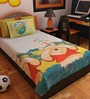 Bombay Dyeing Cartoon Print Single Cotton Bedsheet in Blue with 2 Pillow Covers