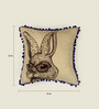 Bombay Mill Beige & Brown Cotton 16 x 16 Inch Rabbit Embroidery Cushion Cover