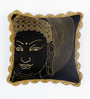 Bombay Mill Black & Gold Polyester 16 x 16 Inch Buddha Face Embroidery Cushion Cover